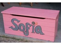 Solid Pine Pink Storage Toy Box Or Chest With The Name Sofia