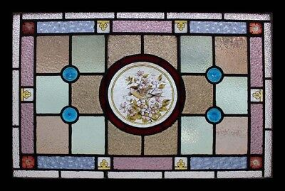 Rare Painted Bird In Blossom With Rondels Antique English Stained Glass Window