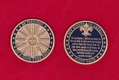SCOUT OATH Challenge Coin Law Motto Slogan BSA Cub Boy Scouts Large Heavy Medal