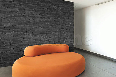 Black Slate Rock Panels -3D Modern Stacked Stone Wall Cladding Split Face Mosaic