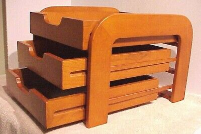 Vintage Levenger Danish Mcm 3 Tier Wood Paper Tray Desktop Organizer