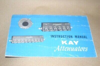 Kay Attenuators Operating Instruction Users Guide Manual