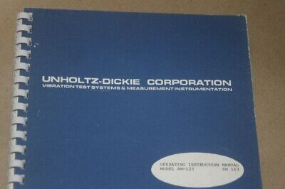Unholtz Dickie Am-123 Vibration Test Instruction Operating Guide Manual