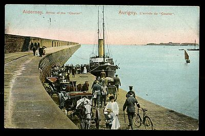 Channel Islands ALDERNEYArrival of RMS Courier at Aurigny 1909 PPC
