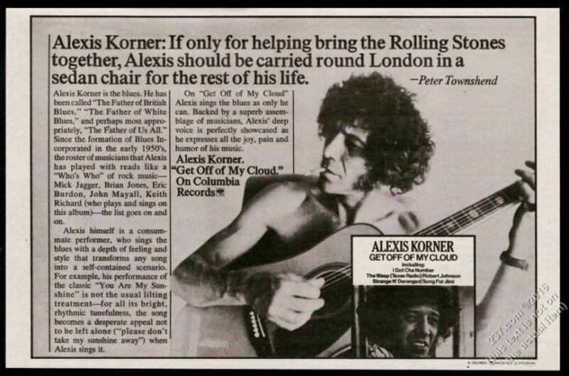 1975 Alexis Korner photo Get Off of My Cloud album release vintage print ad