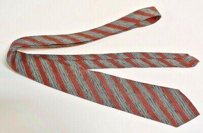 1940s Mens Ties | Wide Ties & Painted Ties Men's Vintage Tie Necktie 1940's 50's SKINNY Dark Orange Brown Grey Black Stripe $9.99 AT vintagedancer.com
