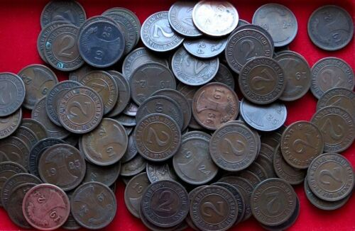 MUST SELL 1000+ UNSEARCHED WEIMER & NAZI BRONZE 2PFENNIGS! $5-$10 EA EVERYWHERE