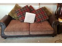 3 seater + 2 seater country check Chesterfield style sofas