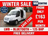 FORD TRANSIT 350 MEDIUM ROOF LWB 125 BHP BLUETOOTH 3 SEATS