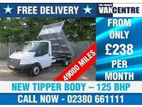 FORD TRANSIT 350 2.2 TDI 1 WAY TIPPER MWB 125 BHP NEW TIPPER BODY 3 SEATS