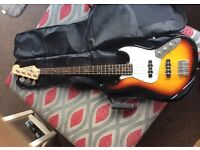 Deacon Sunburst bass guitar with Ibanez Amplifier and accessories