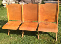 Vintage Wooden Theatre Seats Folding 3 Seater
