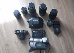 Minolta camera bodies and lenses and canon camcorder