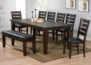 Hardwood solids constructuion, espresso finish 6pc dining set