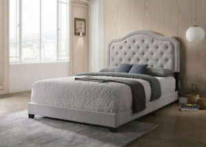 BEAUTIFUL QUEEN / DOUBLE SIZE BED IN GREY FABRIC - BRAND NEW