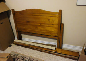 Solid pine bed with headboard