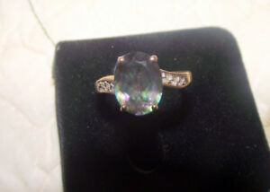 Womens Mystic Topaz 10 kt gold ring