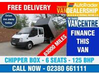 FORD TRANSIT 350 DOUBLECAB ONE WAY CHIPPER TIPPER LWB 125 BHP 6 SEATS