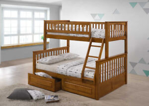 Solid Wood Twin Full Bunk Bed w TWO Drawers - Honey Oak Finish