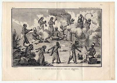 Feuerbestattung-Indien-Totenkult-Ethnologie - Kupferstich Sonnerat-Poisson 1782