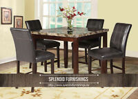 BRAND NEW!! COUNTER HEIGHT FAUX MARBLE 5 Pc DINING SET