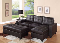 3 Pc. Espresso New Sectional Set  FREE DELIVERY