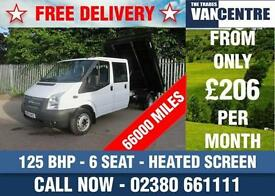 FORD TRANSIT 350 LWB DOUBLE CAB TIPPER 125 BHP HEATED SCREEN 6 SEATS