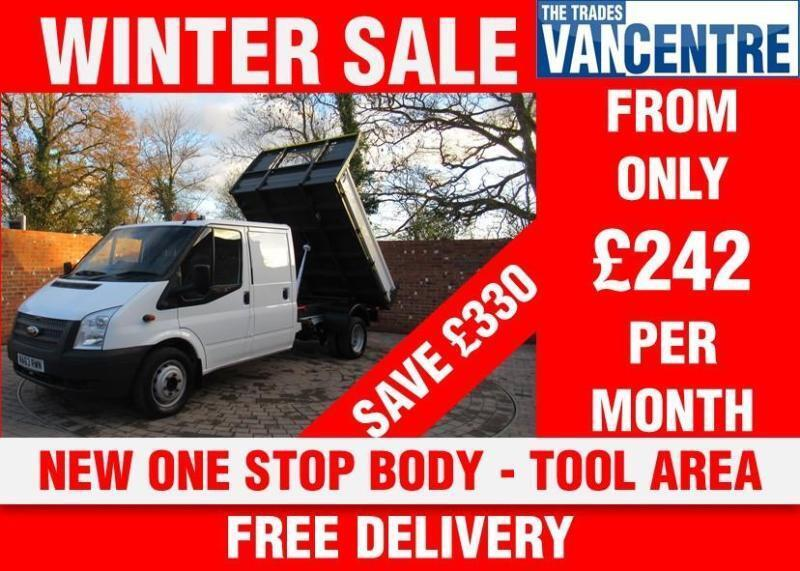 cdfea0d0383302 FORD TRANSIT 350 DOUBLE CAB 1 WAY TIPPER LWB 125 BHP TOOL AREA NEW TIPPER  BODY