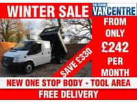 FORD TRANSIT 350 DOUBLE CAB 1 WAY TIPPER LWB 125 BHP TOOL AREA NEW TIPPER BODY