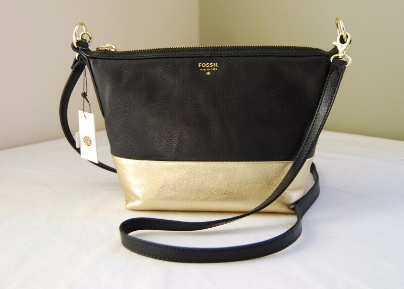 Fossil Sydney Crossbody Small Leather Bag Black Gold