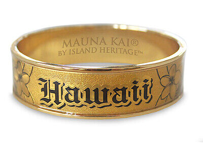 18mm Hawaiian Engraved Bangle Bracelet Jewelry Hawaii Metal Covered Gold Foil N
