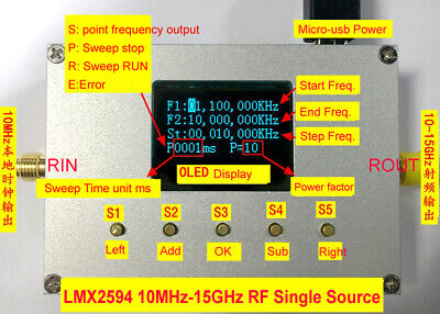 Lmx2594 10mhz-15ghz Rf Signal Generator Frequency Source Sweep Oled Software