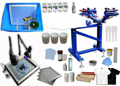4 Color Screen Printing Kit Silk Press Printer Wiht Exposure Unit Vertical Equip