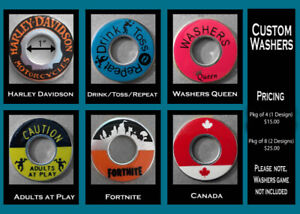Attention Washer Toss Players - Custom Washers for sale