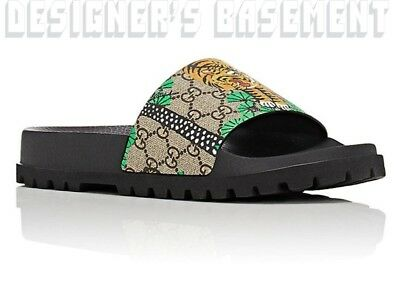 cdd357902026 GUCCI mens 7G BENGAL TIGER GG Supreme slides sandals FLIP-FLOP shoes NIB  Authent