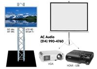 Location de Projecteur, Ecran TV *** Projector Screen TV Rentals