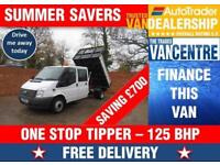 FORD TRANSIT 350 DOUBLE CAB ONE WAY TIPPER LWB 125 BHP NEW ONE STOP BODY 6 SEATS