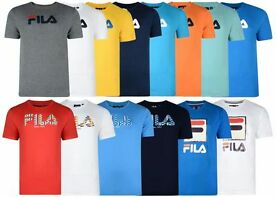 New Mens Fila Printed Logo Crew Neck Short Sleeve T Shirt Tee Top Summer