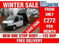 FORD TRANSIT 350 DOUBLECAB ONE WAY TIPPER LWB 125 BHP NEW ONE STOP BODY 6 SEATS
