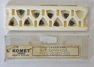 Komet Unisix W28 10000.0221 Carbide Cutting 9 Inserts Pd05 200802 K10 Grade