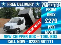 FORD TRANSIT 350 MWB 1 WAY TIPPER 125 BHP NEW CHIPPER BOX TOOL BOX 3 SEATS
