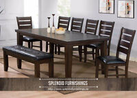 BRAND NEW!! SOLID WOOD CAPUCCINO FINISH 6Pc DINING SET CLEARANCE