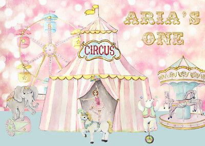 Pink Theme Bokeh Circus Party Photo Backdrops Carnival First Birthday Backdrops