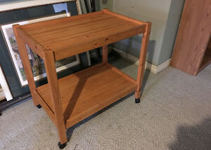Mobile Wood Two Shelf Cart