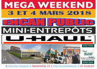 Super weekend d'encans de mini-entrepôts 3 & 4 mars 2018