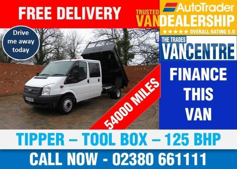 04ee1fbe749eb6 FORD TRANSIT 350 DOUBLECAB ONE WAY TIPPER LWB 125 BHP TOOL BOX 3 SEATS