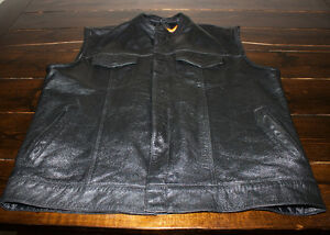 Black Leather Prospeed Motorcycle Vest - XXL