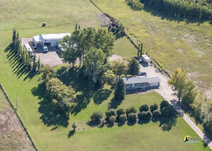 HOUSE AND SHOP ON 18.3 ACRE. ...1KM SOUTH OF OKOTOKS FOR SALE