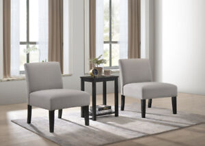 BEAUTIFUL  SET OF 2 ACCENT CHAIRS  & OCCASIONAL TABLE -BRAND NEW