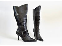 Black NEXT pointed stiletto BOOTS in size 6 (wide fit)